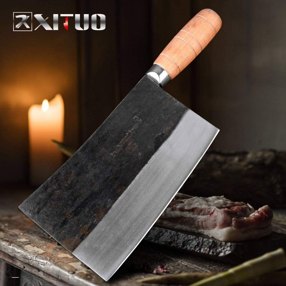 Best Quality Kitchen Knives Full Tang 688g Heavy Chef Chopping Knife Asian Style Butcher Slaughter Knife Kitchen Cleaver Wooden Handle
