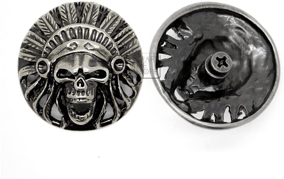 CRAFTMEmore 1-3/8 Inches Indian Head Skull Concho Screw Back Tribal Cheif Conchos Leathercraft Decorations Pack of 2 HQR106 (Antique Silver)
