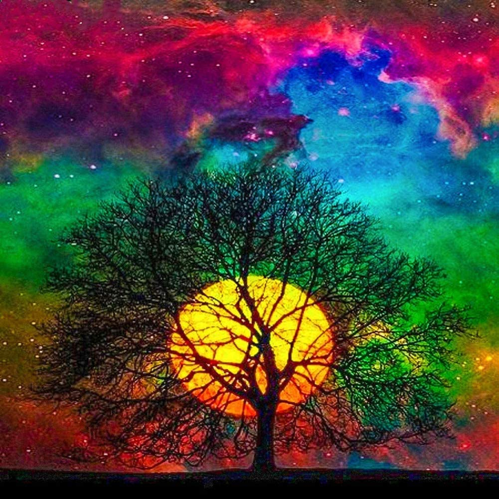 DIY 5D Diamond Painting by Number Kits for Adult,Full Round Drill Embroidery Cross Stitch Arts Craft Wall Decor Moon Tree 11.8x11.8in 1 Pack by Kirity