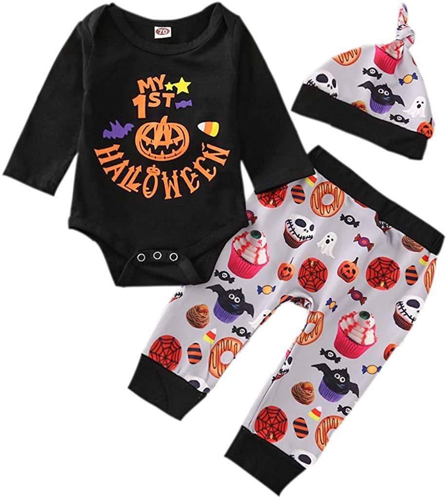 Happy Halloween Newborn Baby Boy Girl Clothes Long Sleeve Mummy Printed Romper + Pants + Hats 3Pcs Outfits Set
