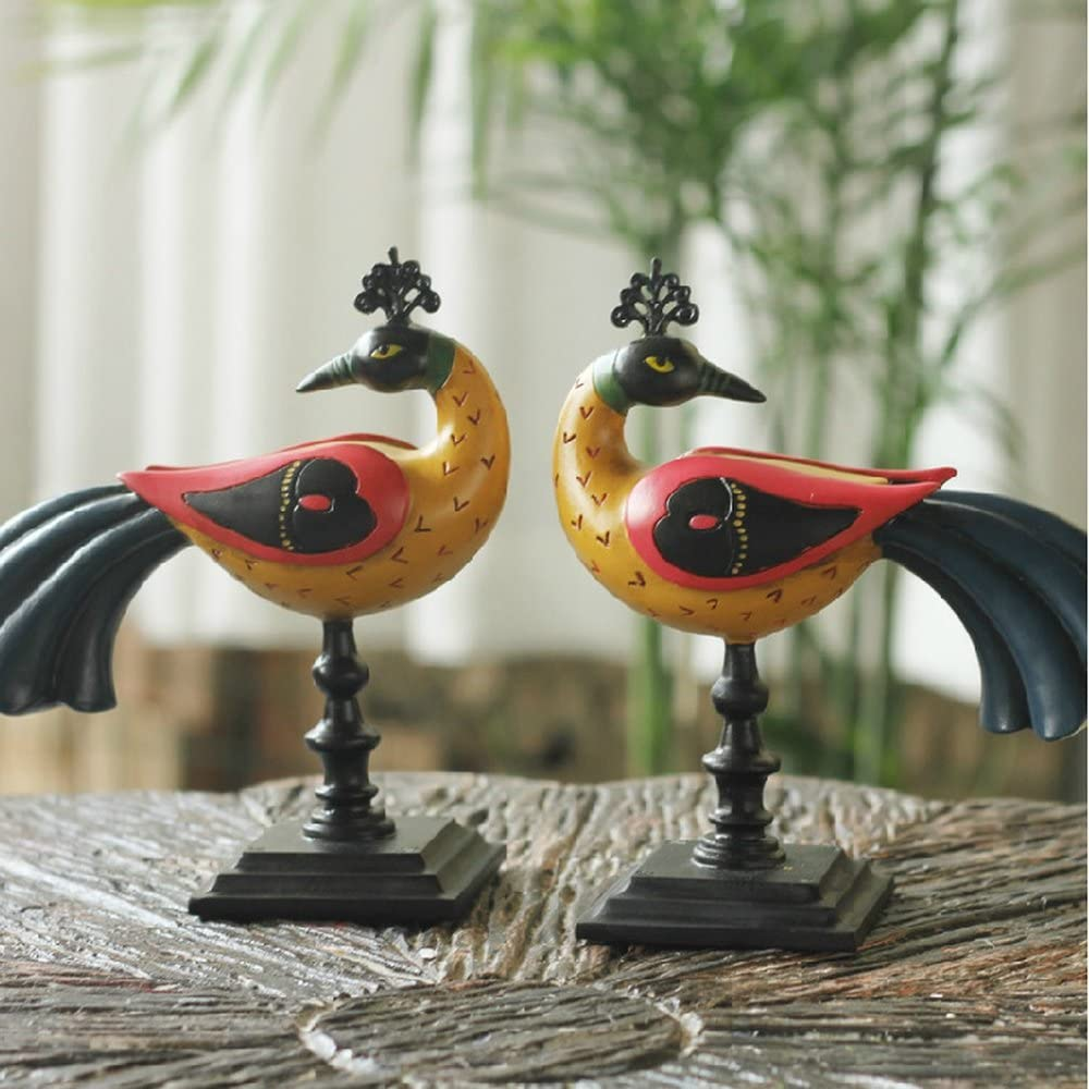Bwlzsp 1 pair European furnishings resin lovers furnishings home decorations living room handicrafts ornaments Acacia Birds LU709407