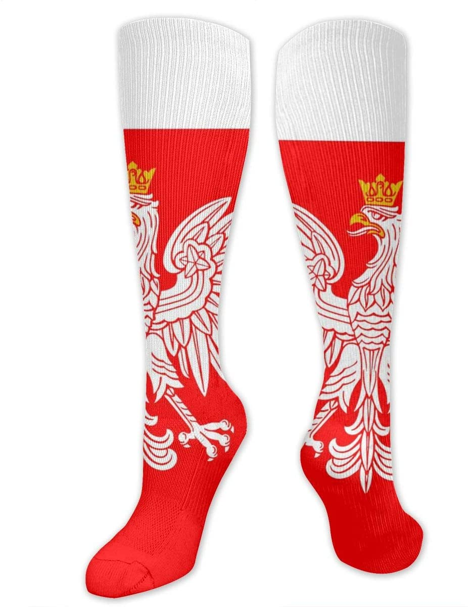 Merahans Womens High Stockings Poland Flag with White Royal Eagle Novelty Socks Boot Socks