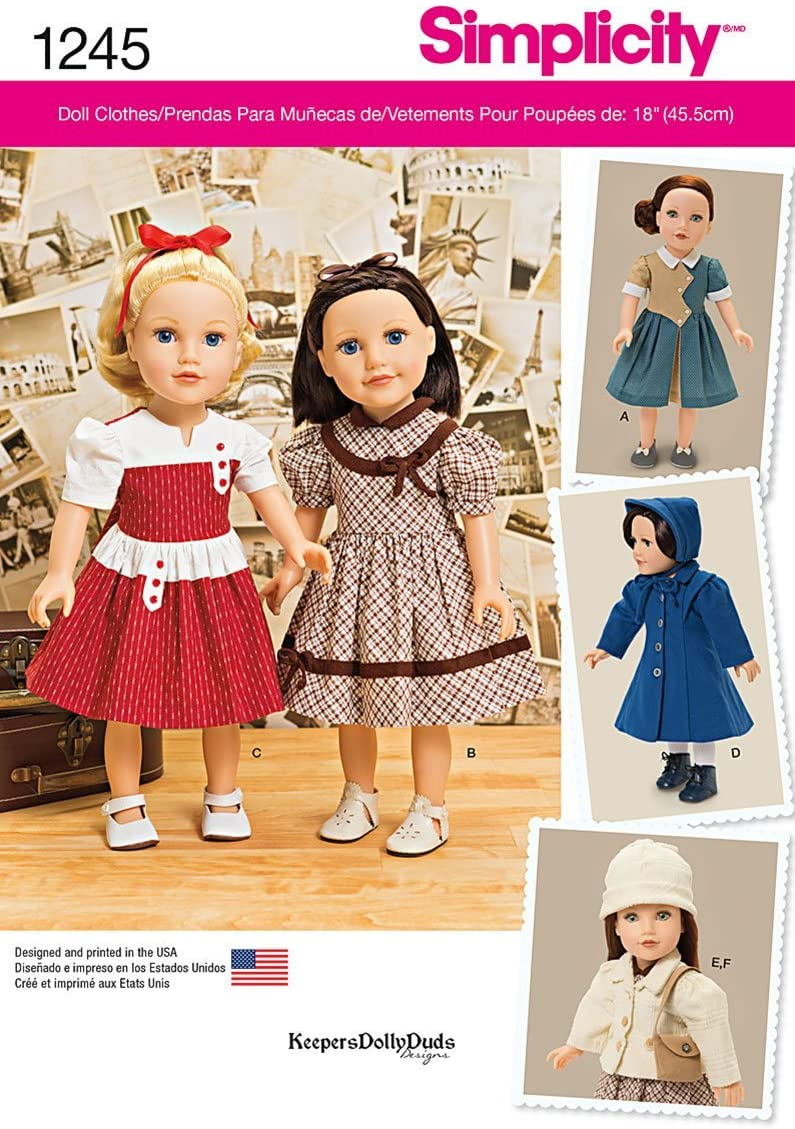 Simplicity 1245 Vintage Fashion 18'' Doll Clothes Sewing Pattern, One Size Only