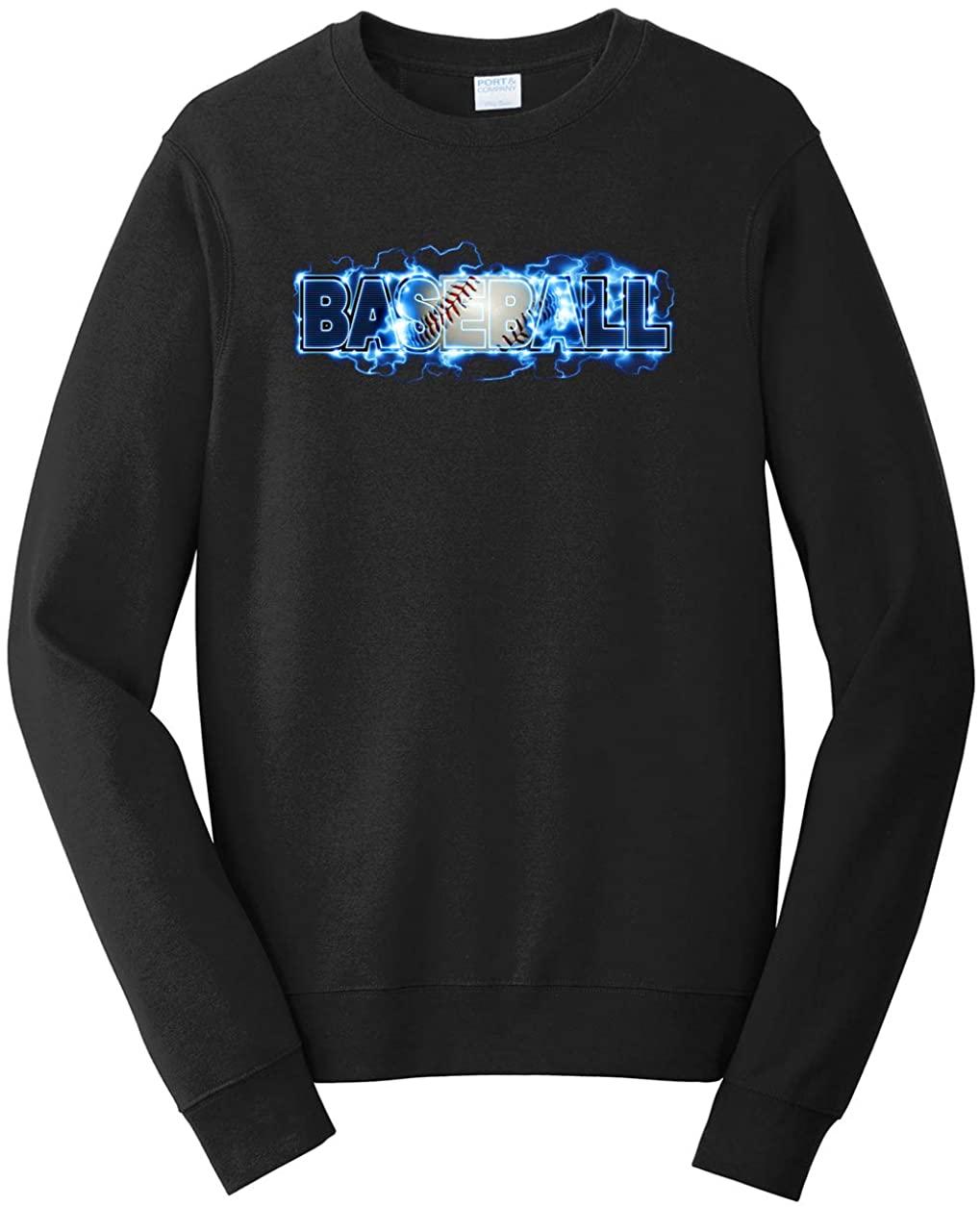 Tenacitee Mens Baseball Lightning Sweatshirt