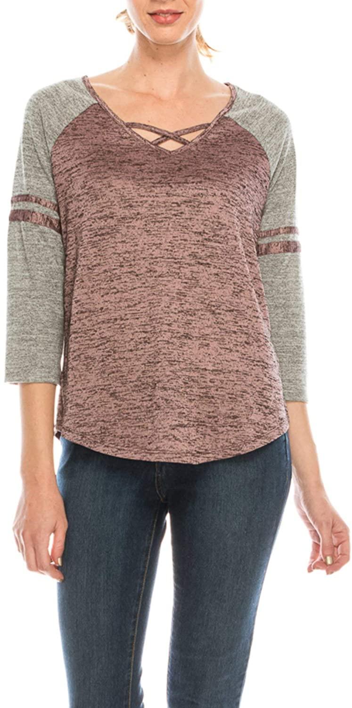 Urban Diction V-Neck Crisscross Elbow Sleeve Mauve Sports Top Shirt