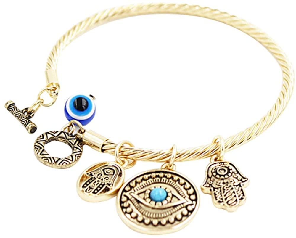 Yanluu Gold Plated Evil Blue Eye Bracelet for Women with Gift Box