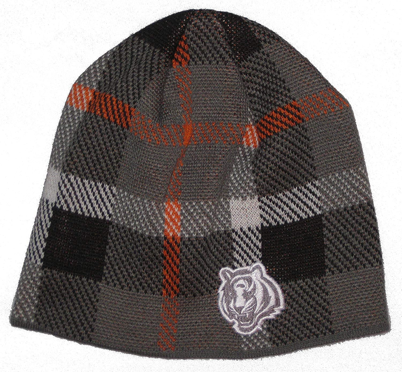 Reebok Cincinnati Bengals NFL Team Apparel Plaid Design Knit Beanie Hat