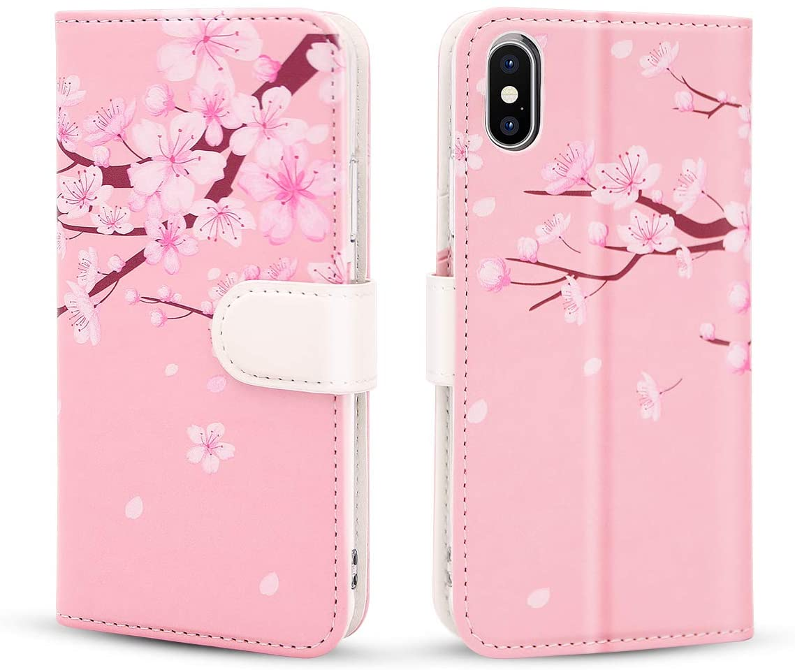 HONOVI iPhone X/XS Case with Card Holder for Women, Faux Leather Purse Flip Wallet Cases with Magnetic Closure for iPhone X/XS - Flower Branch