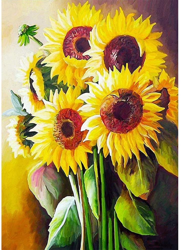 Sonsage Art Paint with Diamond Kit,Sunflower Full Round Diamond Drills,DIY 5D Gem Craft Puzzle for Adult and Kid,Embroidery Jewel Painting for Wall Decor and Gift 15.7x11.8 inch
