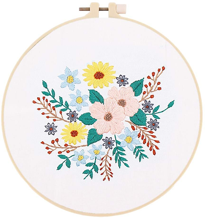 Radish Stars Embroidery Starter Kit with attern and Instructions - Cross Stitch Kit Including Stamped Embroidery Cloth with Floral Pattern, Bamboo Embroidery Hoop, Color Threads and Tools Kit