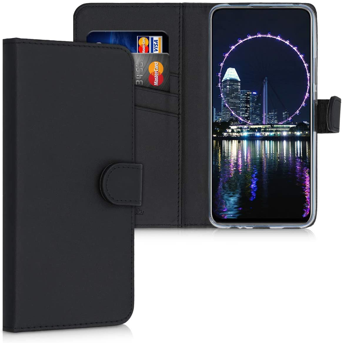 kwmobile Wallet Case Compatible with Huawei Y9 Pr. (2019) - PU Leather Flip Cover with Magnetic Closure, Card Slots and Kickstand - Black
