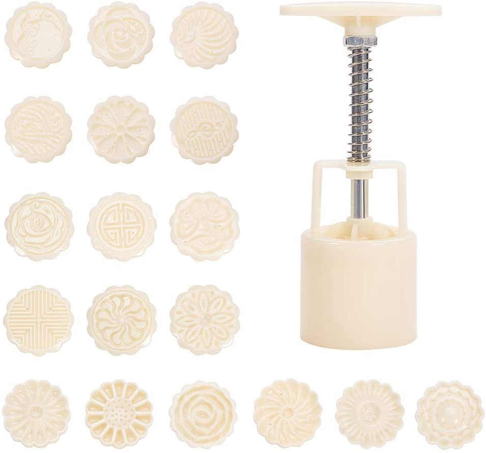 PH PandaHall 18 pcs Flower Mooncake Mold Stamps with 3 pcs Hand Press, Plastic Mold Kit for DIY Bath Bombs Moon Cake Making, Creamy White