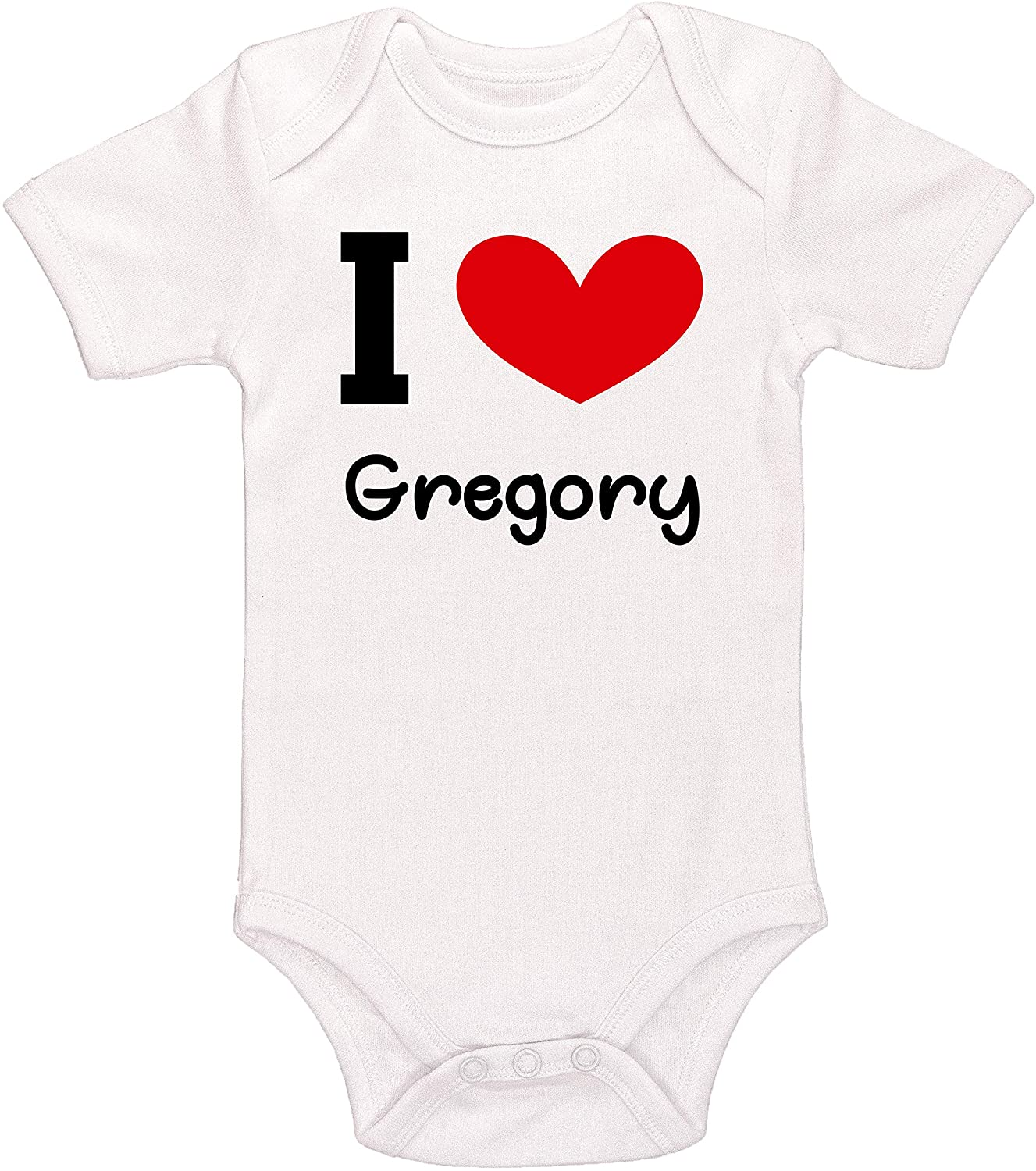 Kinacle I Love Gregory Personalized Baby Bodysuit