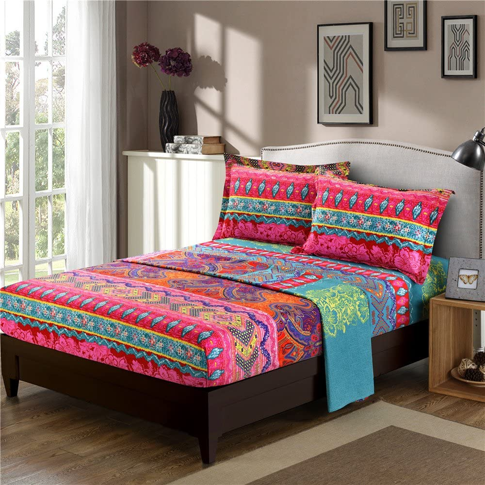 YOUSA Colorful Bohemian Floral Print Sheets Ethnic Boho Style Fitted Sheet (Full/1Pc Fitted Sheet,04)
