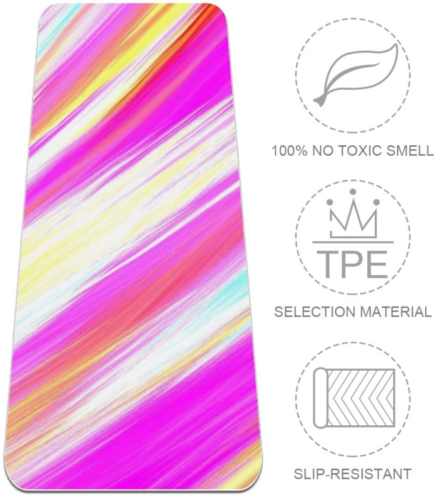 ASDFAS Color Stripes Yoga Mat with Thickness of 0.25 Textured Non-Slip Surface On Both Sides. Reversible, Lightweight, and Durable. Perfect for Yoga, Pilates, Stretching, or Gymnastics.