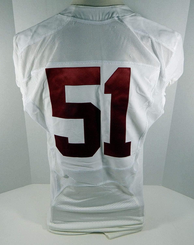 2009-15 Alabama Crimson Tide #51 Game Used White Jersey BAMA00269 - College Game Used