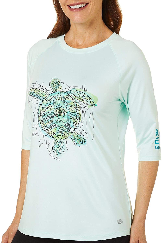 Reel Legends Womens Keep It Cool Sketched Turtle Top