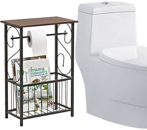 Pongwit New Metal Scroll Design Bathroom Storage Table Shelf with Toilet Paper Dispenser