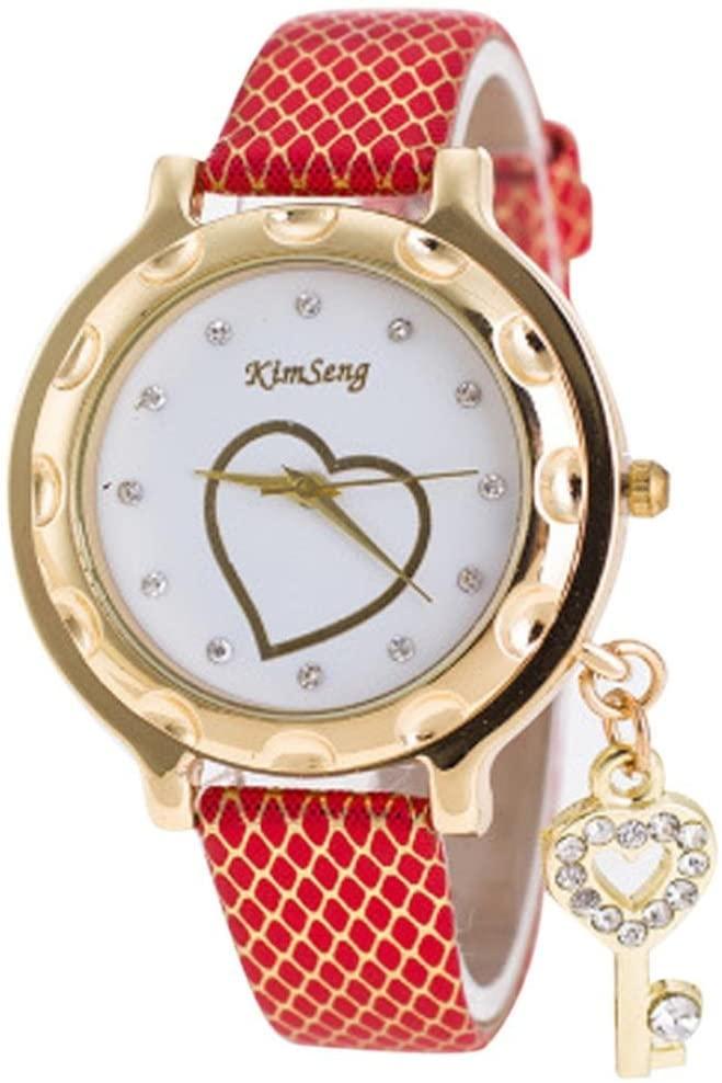 Women's Watch, Ruhiku GW Leather Strap Fashion Wristwatch Women Wristwatches Ladies Watch (Red)