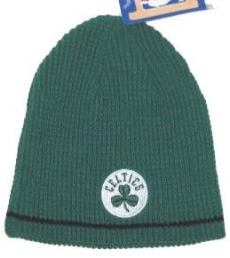 Boston Celtics NBA Green & Black Reversible Ribbed Knit Beanie Hat