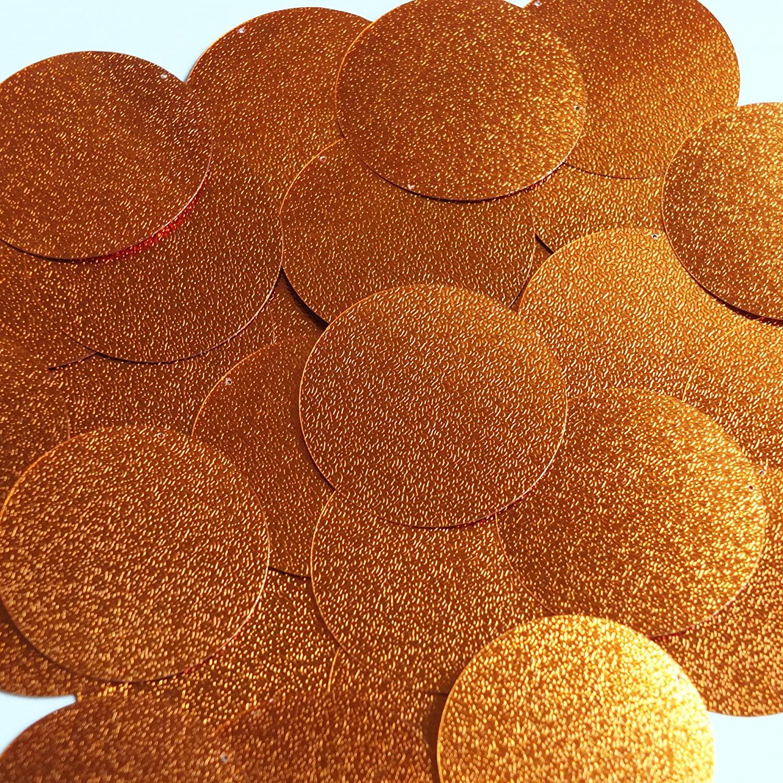 Round Sequin 40mm Copper Orange Metallic Embossed Texture Loose Couture Paillettes
