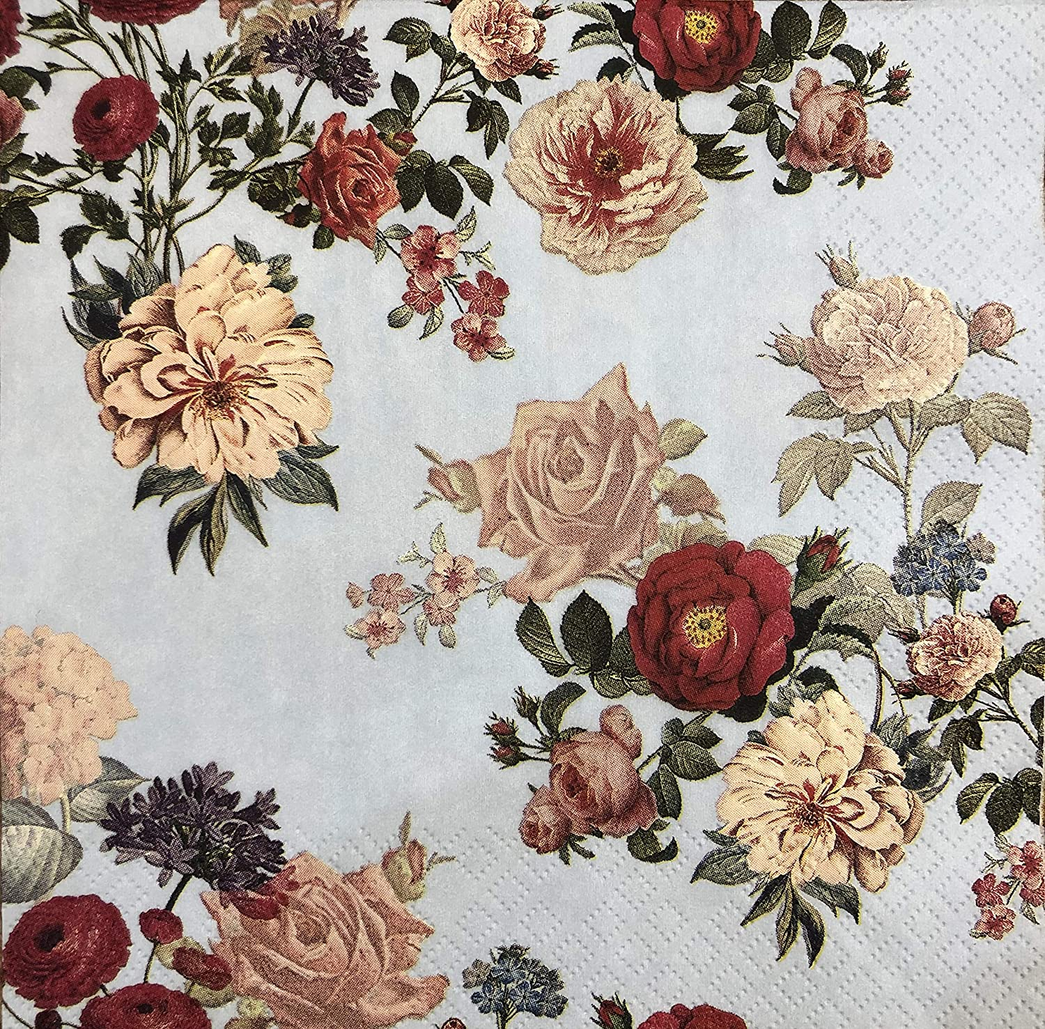 2 Single Paper Napkins for DECOUPAGE Crafts Collection Party Small Roses Flowers Spring