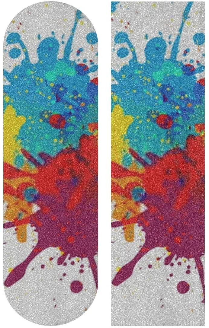 CHQTG Longboard Griptape Vector Colorful Background Design Illustration Skateboard Grip Tape Sheets ,Sandpaper for Rollerboard Anti-Slip 33.1x 9.1inch