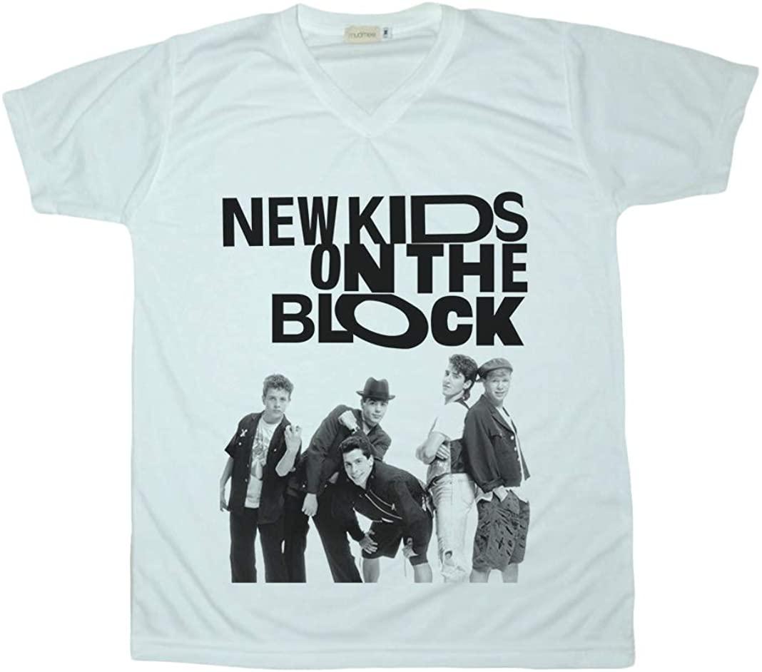 New Kids On The Block V-Neck Shirt Unisex Adult White Tee T-Shirt Men Women Size S M L XL