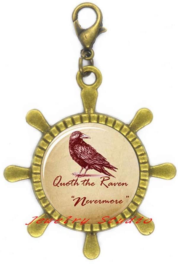 Raven Rudder Zipper Pull Raven Jewelry Bird Nest Lobster Clasp Wearabel Art Bridesmaid Jewelry Unique jewelry-HZ0098
