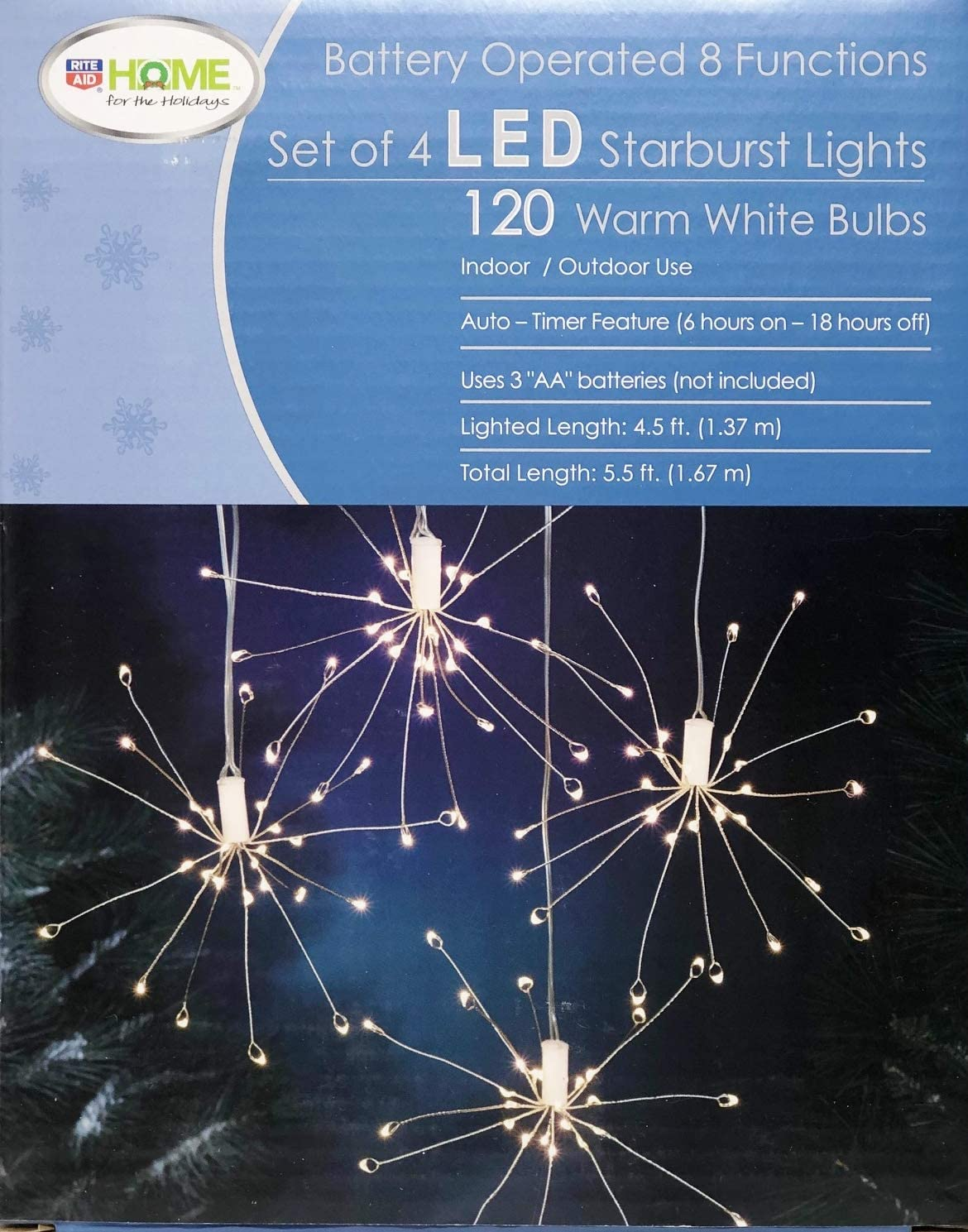 Set of 4 Battery Operated LED Starburst Christmas Lights with Auto Timer (4.5 Feet)