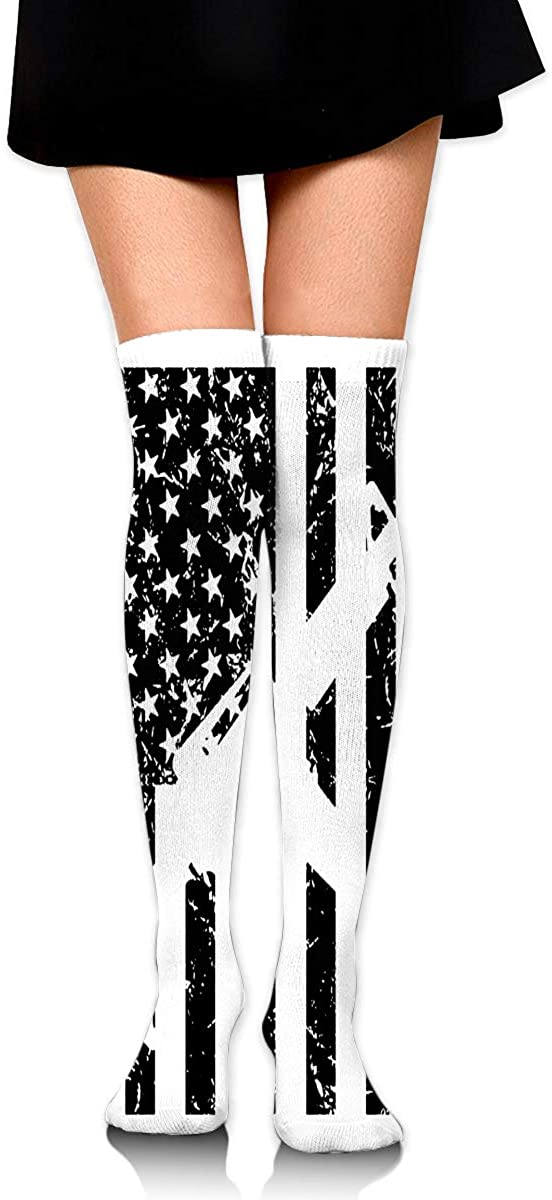 Knee High Socks American Flags And Guns Women's Athletic Over Thigh Long Stockings