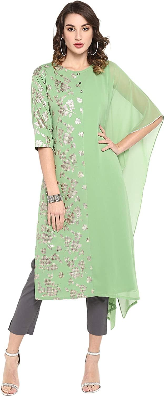 Janasya Indian Women's Light Green Poly Crepe Kurta