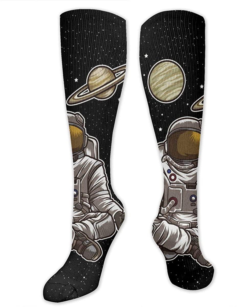 Men Lady Knee High Socks Space Yoga Astronaut Meditates Crew Long Hose Stockings