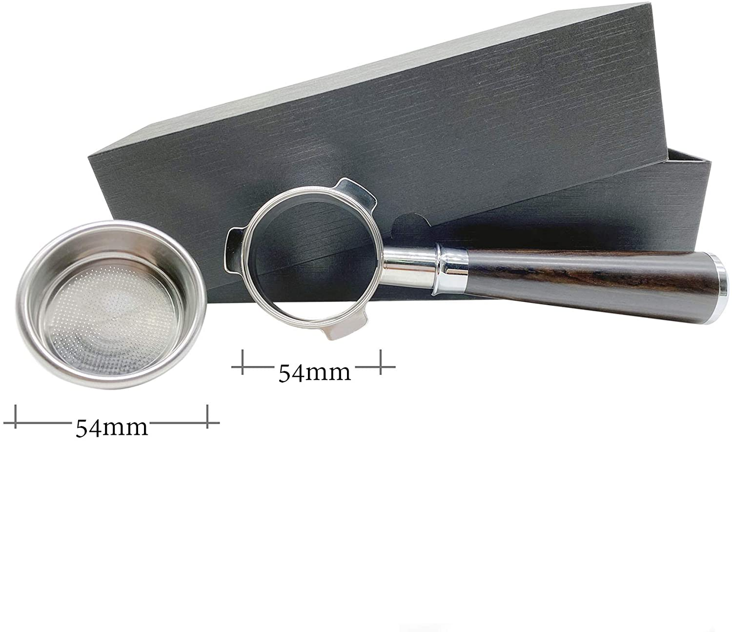 Espresso Coffee Portafilter three ear bottomless handle 54mm Filter Basket handle and 54mm Filter Basket for Breville 870/878/880/Barista Express/Barista Pro/Barista Touch and 54mm Breville Machines