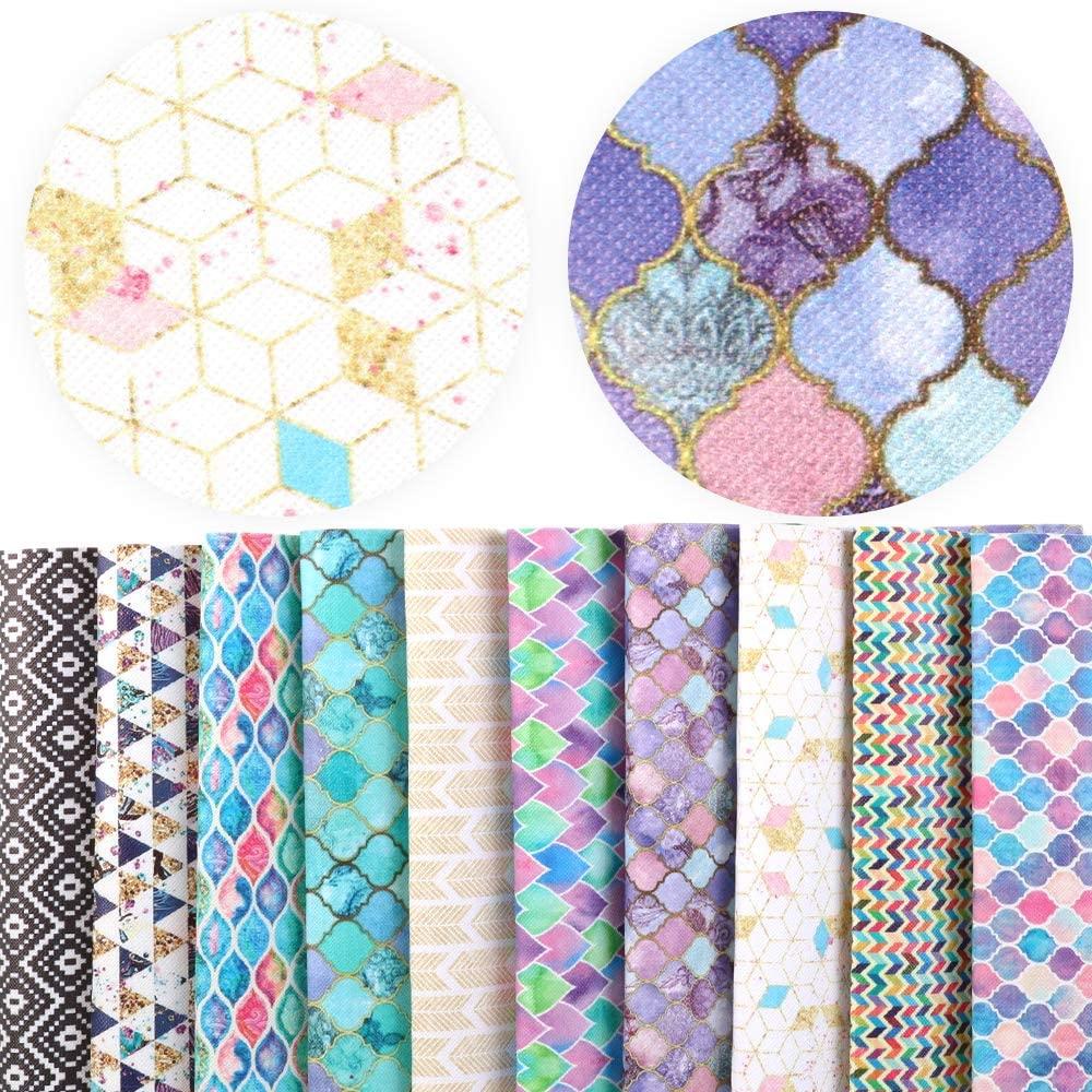 David Angie Rhombus Chevron Printed Geometric Patterns Faux Leather Fabric Sheet 10 Pcs 8 x 13 (20 cm x 34 cm) for Bags Earrings Making DIY Projects (Geometric Pattern A)