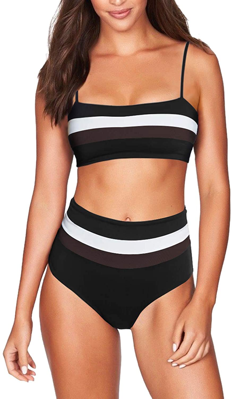 TEWWEY Women's 2 Piece Bikini Set Strap Bandeau Tube Top High Waisted Stripes Bathing Suit Swimwear