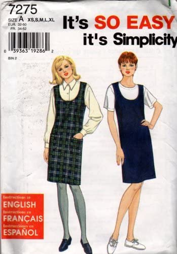 Simplicity 7275 Sewing Pattern Misses Sleeveless Jumper Size 6 - 24 - Bust 30 1/2 - 46