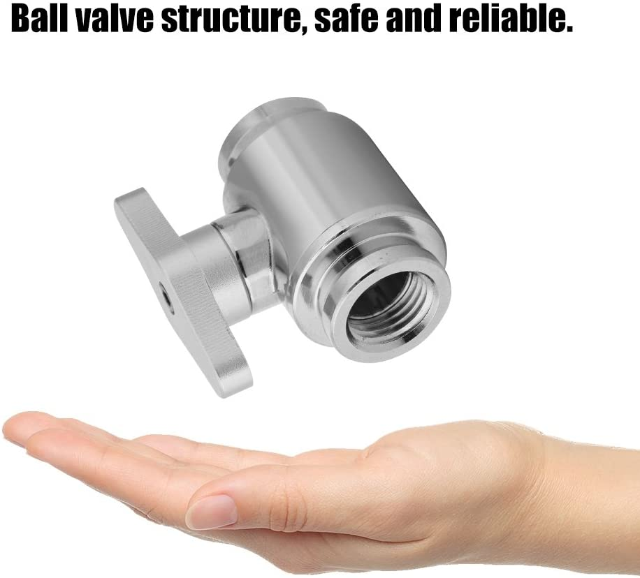 Liyeehao Cooling Valve, Internal Thread Water Valve, Water Ball Valve, Nickel Plated G1/4 Solid and Durable for Computer(Silver Switch)