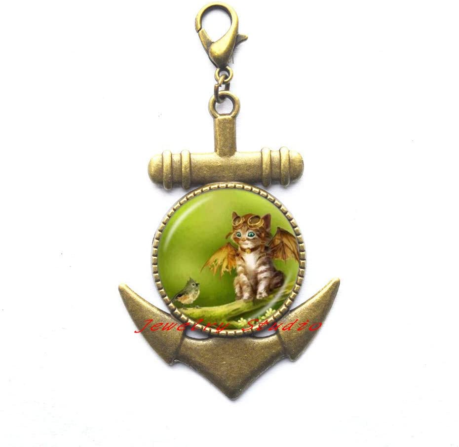 Cute Fairy Cat Photo Anchor Zipper Pull Angel Wing Cat Lobster Clasp Jewelry Animal Sweater Anchor Zipper Pull Glass Dome Jewellery-HZ0313