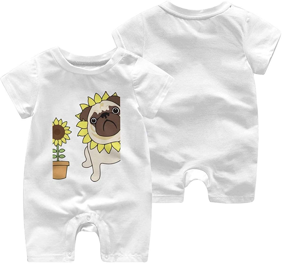 ChenYeSheng Baby Girls Boys Sunflower Pug Short Sleeve Bodysuit Romper Jumpsuit White6M