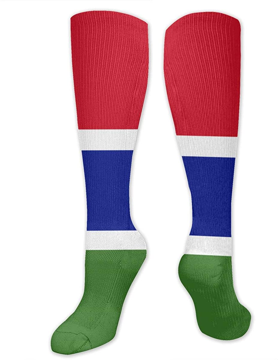 Men Women Knee High Socks Gambia Flag Boot Tube Long Hose Training Stockings