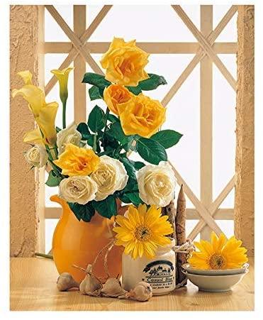 BERYART DIY Paint by Numbers for Adults Kids DIY Painting Acrylic Paint by Numbers Painting Kit Home Wall Living Room Bedroom Decoration - Orange Flower Pattern
