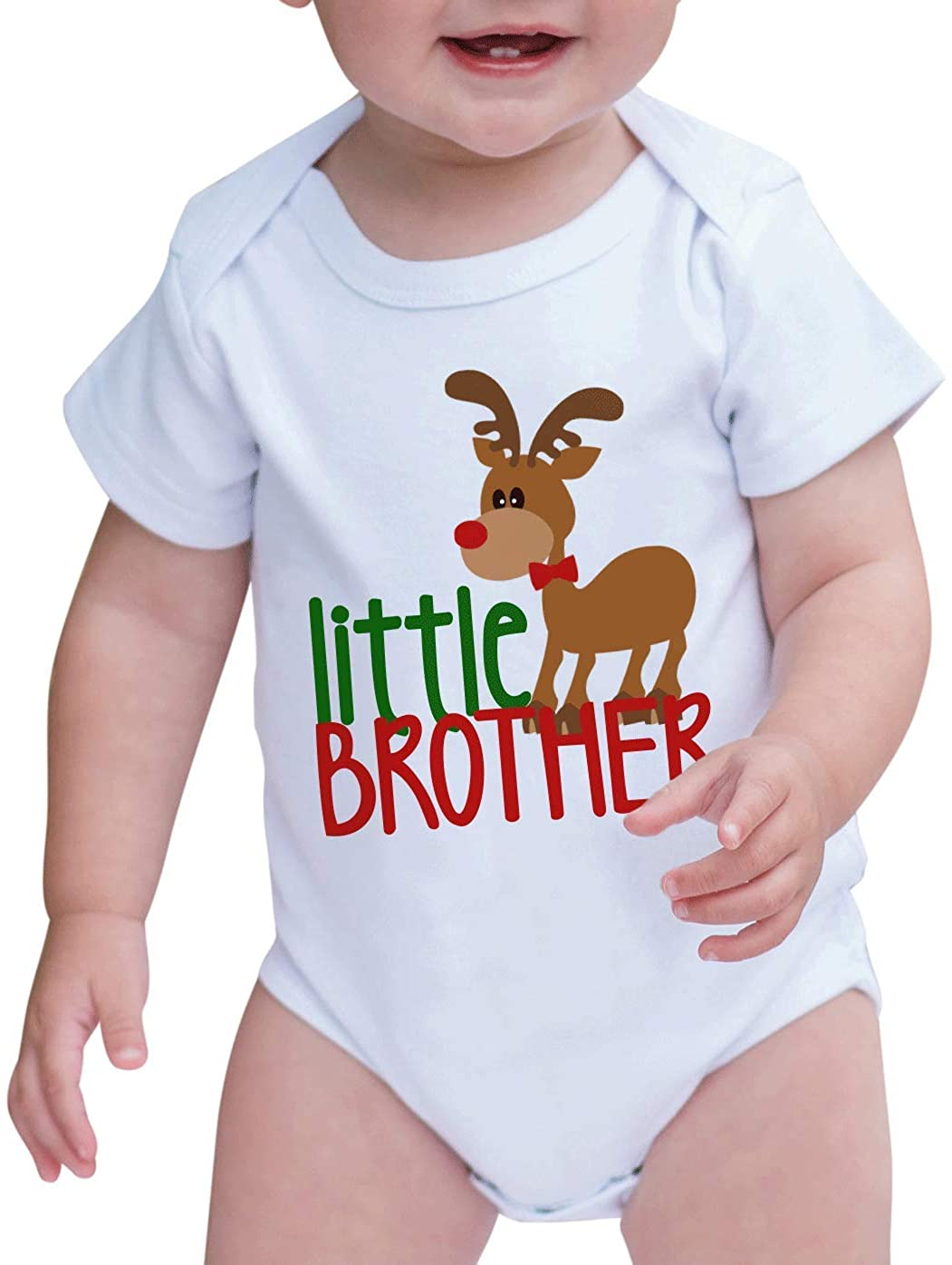 7 ate 9 Apparel Baby's Little Brother Christmas Onepiece