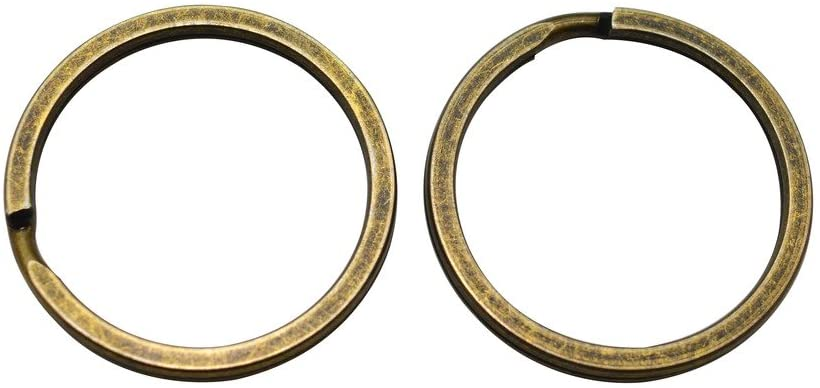 Amanaote Bronze 1.2 Outsize Diameter Plane Surface Key Ring Keychain Jump Ring Pack of 30