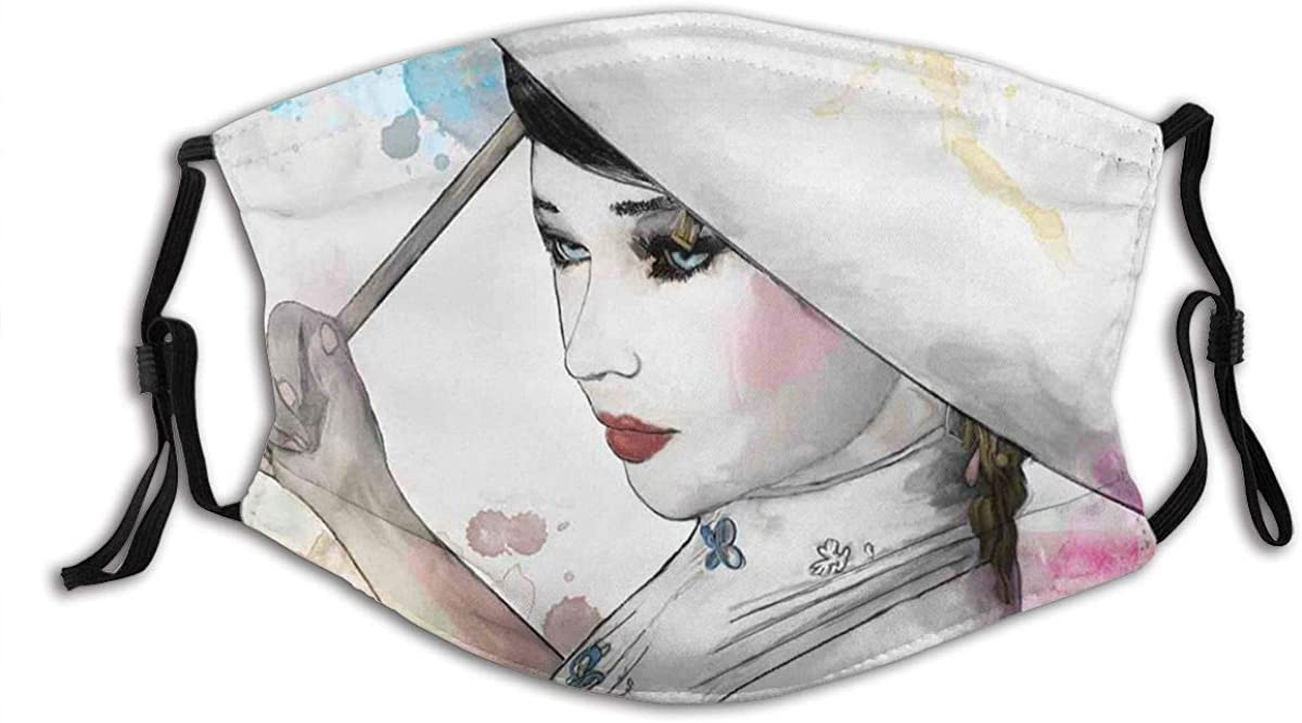 Face Mask Reusable With Carbon Filter, Oriental Watercolor Brushstrokes Windproof, Dust-Proof Unisex-Adult Adjustable Outdoor Mouth Covering