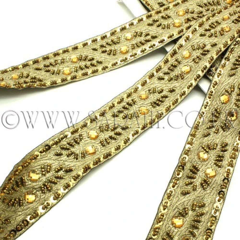 Gold Beaded Fabric Ribbon Trim - Sarahi.NYC