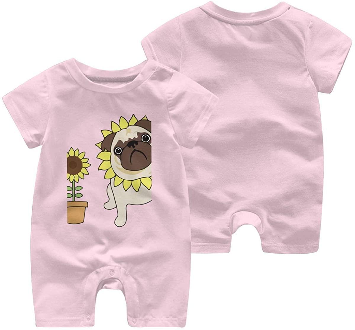 ChenYeSheng Baby Girls Boys Sunflower Pug Short Sleeve Bodysuit Romper Jumpsuit Pink6M