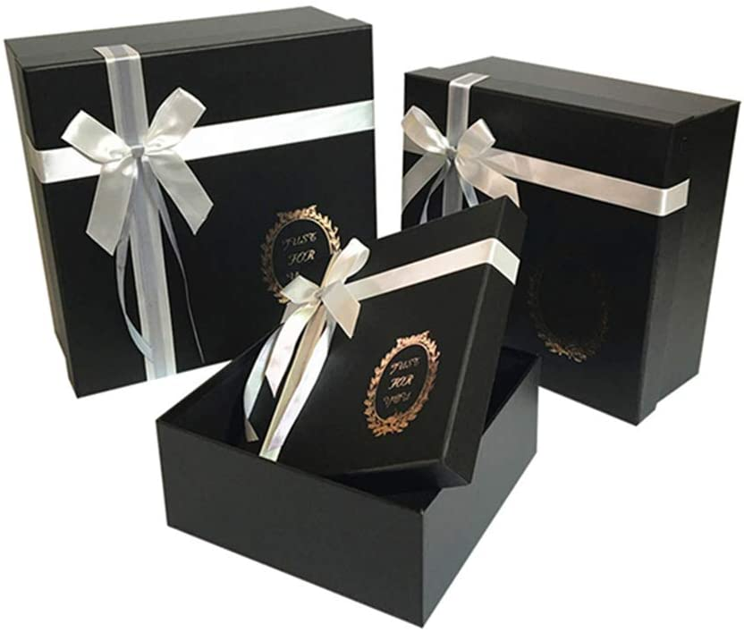3pcs/Set foil Gold Color Square Shape Bowknot Gift Boxes Mother's Day/Valentine's Day Packing Box Wedding Party Decoration Ramadan Flower Packing Gift Box (Black)