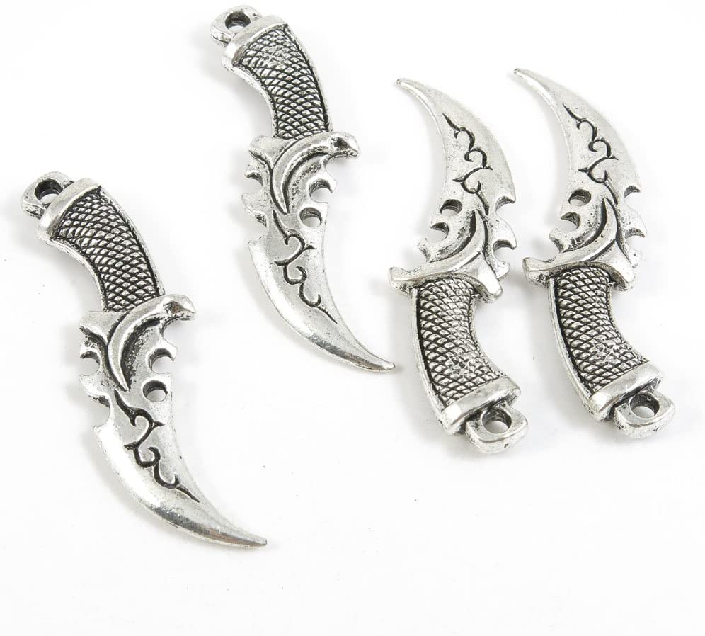 Qty 20 Pieces Antique Silver Tone Jewelry Making Supply Charms Findings X8WS4 Dagger Knife
