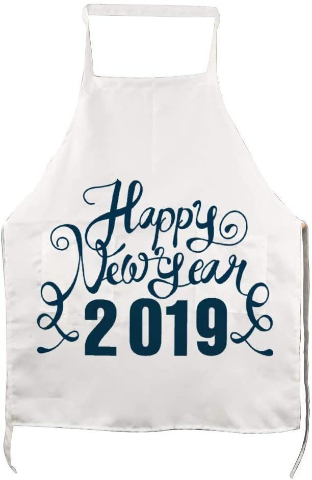 BYRON HOYLE Personalized Date Adult Apron,Happy New Year Woman�s Funny Novelty Apron,White Cooking Apron,Bakeware Apron,BBQ Apron,Dad Gift for Mothers,Grill Gift with Pockets